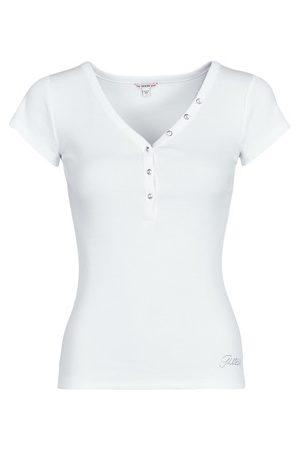Guess Femme Manches courtes - T-shirt ES SS V NECK LOGO HENLEY TEE