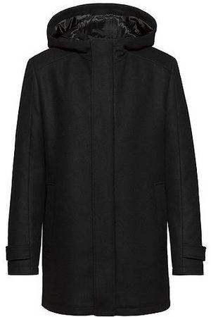 HUGO BOSS Manteau à capuche Slim Fit en laine vierge mélangée