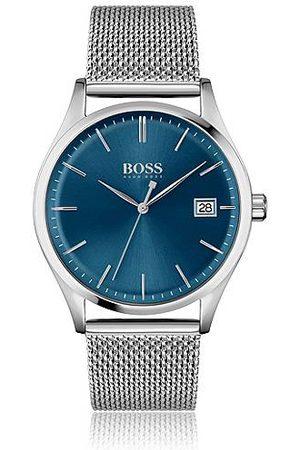 HUGO BOSS Homme Montres - Montre à cadran bleu et bracelet en maille milanaise