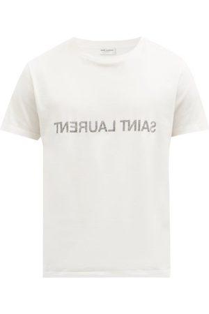 Saint Laurent T-shirt en jersey de coton à imprimé logo inversé