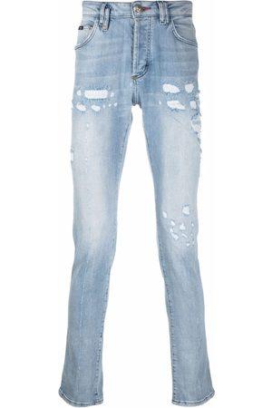Philipp Plein Homme Skinny - Jean droit à effet usé