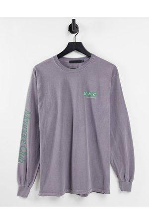 Mennace T-shirt manches longues imprimé sur la poitrine et les manches - délavé