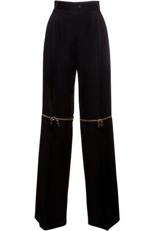 Dolce & Gabbana Femme Pantalons classiques - Pantalon Droit En Laine Stretch Avec Détail Zippé