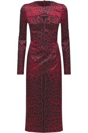 Dolce & Gabbana Robe Midi En Satin Stretch Imprimé