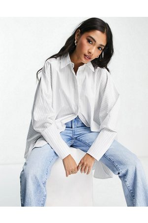 ASOS Chemise oversize en coton à rayures - Blanc et