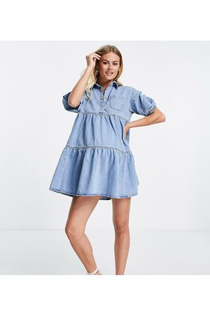 River Island Robe chemise à smocks en denim - clair