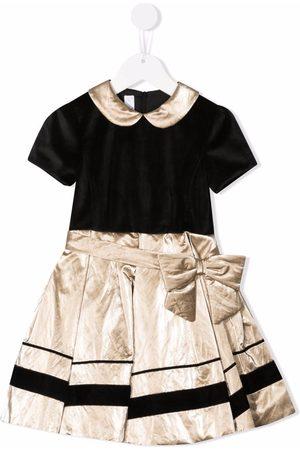 COLORICHIARI Velvet-effect pleat-skirt dress