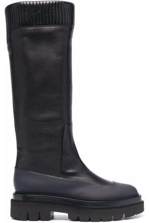 santoni Ribbed leather knee-high boots