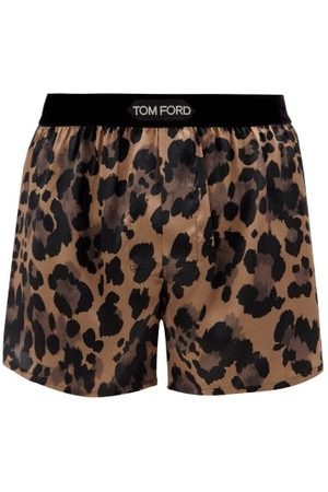 Tom Ford Caleçon en satin de soie à imprimé léopard