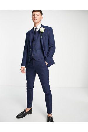 ASOS Homme Blazers - Wedding - Veste de costume coupe super skinny en laine mélangée à chevrons - marine