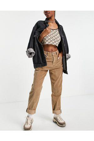 ASOS Femme Baggy & Large - Hourglass - Jean mom ample taille haute en velours côtelé - Biscuit