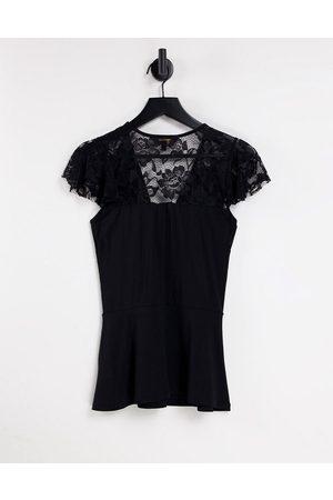 Lipsy London Femme T-shirts - Top à manches en dentelle