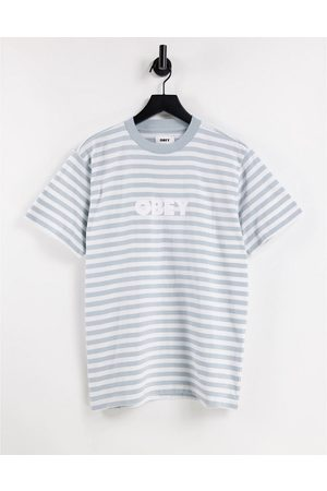 Obey T-shirt oversize à rayures grises et broderie logo