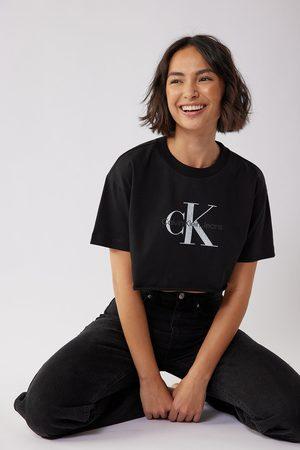 Calvin Klein for NA-KD Biologique tee-shirt court à ourlet brut - Black