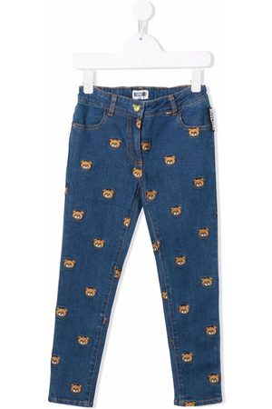 Moschino Logo-embroidered straight-leg jeans