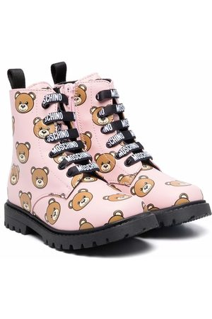 Moschino Fille Bottines - Teddy print lace-up boots