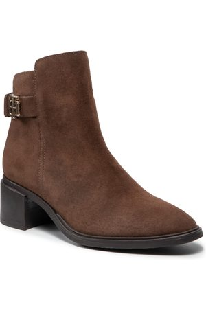 Tommy Hilfiger Femme Bottines - Bottines - Hardware Th Mid Heel Boot FW0FW06011 Cocoa GT6
