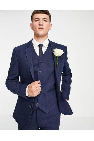 ASOS Wedding - Veste de costume skinny en laine mélangée à chevrons - marine