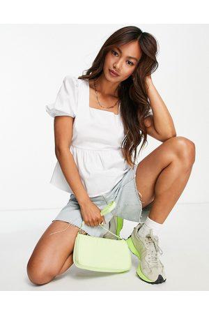 Glamorous Blouse en coton avec encolure carrée et manches bouffantes