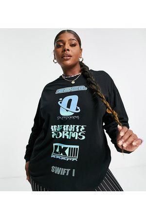 ASOS ASOS DESIGN Curve - T-shirt style skateur à manches longues avec imprimé effet coupé-cousu sur le devant