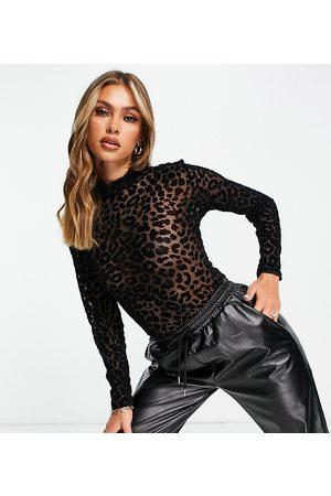 Missguided Body d'Halloween en tulle à motif léopard floqué avec col montant