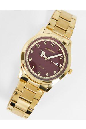 Sekonda Montre-bracelet pour femme à cadran rouge - Doré