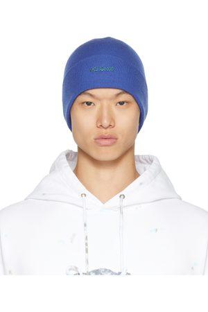 We11 Done Homme Bonnets - Bonnet bleu à logo contrecollé