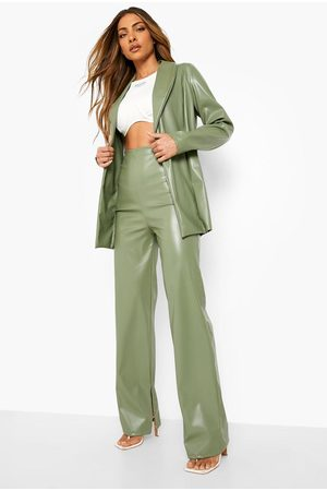 Boohoo Mix & Match Leather Look Split Hem Trousers