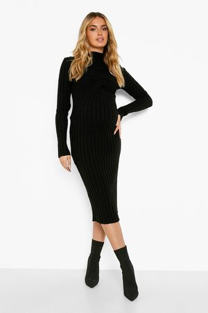 Boohoo Femme Robes midi - Maternity Knit Twist Long Sleeve Midi Dress