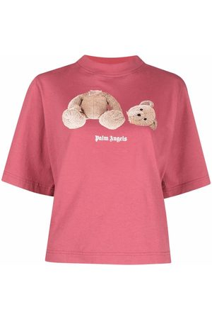 Palm Angels Femme Manches courtes - BEAR CROPPED TEE BURGUNDY