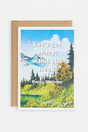 Urban Outfitters Let's Get Crazy Bob Ross Greeting Card