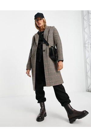 VERO MODA Manteau ajusté à carreaux - Marron
