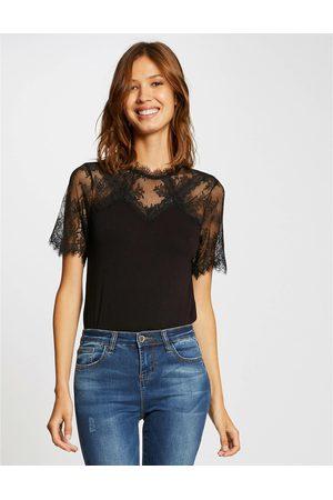 Morgan Femme Manches courtes - T-shirt manches courtes à dentelle