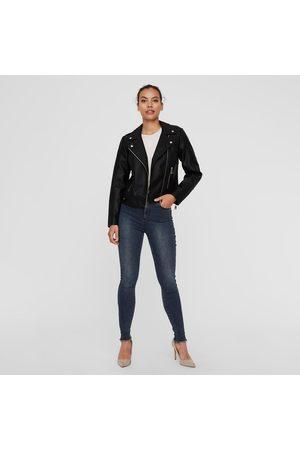 VERO MODA Femme Vestes en cuir - Blouson court zippé, imitation cuir