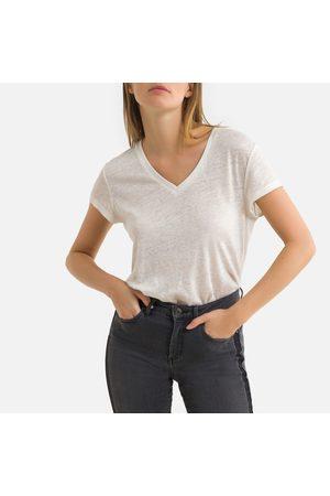 IKKS Femme Manches courtes - Tee shirt en lin col v manches courtes