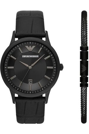 Emporio Armani Three-Hand Date Leather Watch and Bracelet Gift Se en black - pour dames