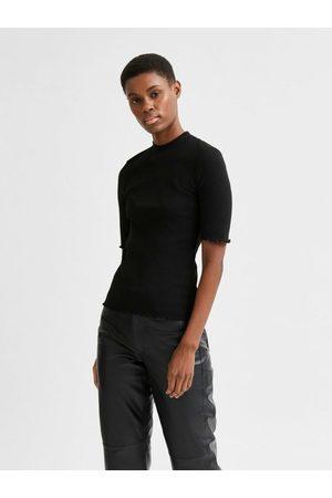 SELECTED Femme Manches courtes - T-Shirt Côtelé